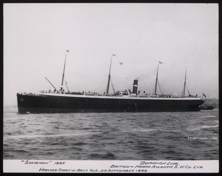 Photograph of Scotsman, Dominion Line card