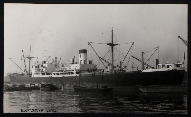 Photograph of Exedene, Dene Shipping Company card
