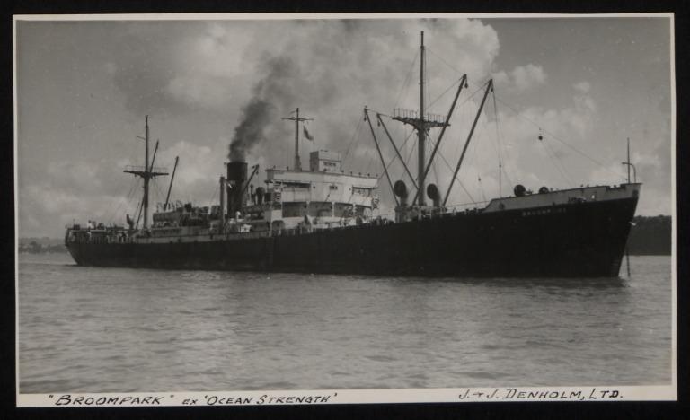 Photograph of Broompark (ex Ocean Strength), J and J Denholm card