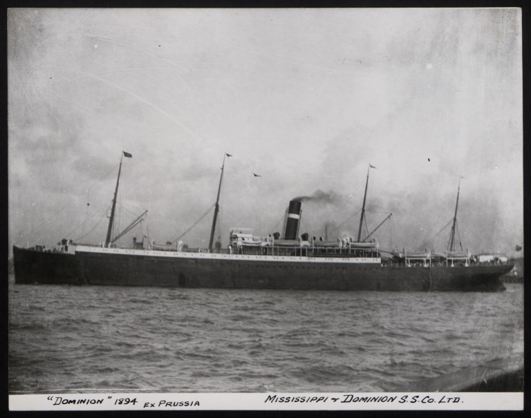 Photograph of Dominion (ex Prussia), Dominion Line card