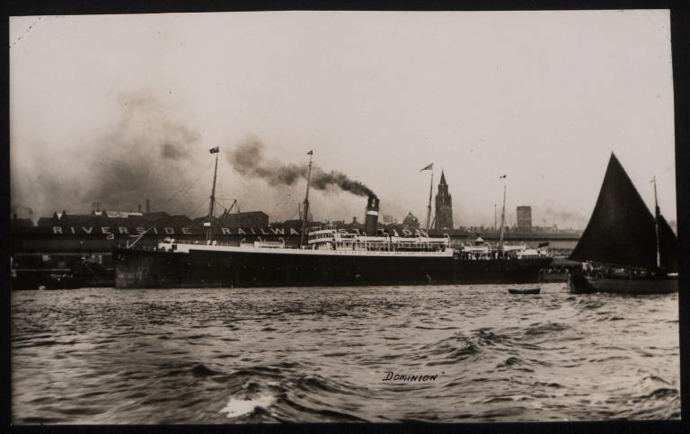 Photograph of Dominion (ex Prussia), Dominion Line card