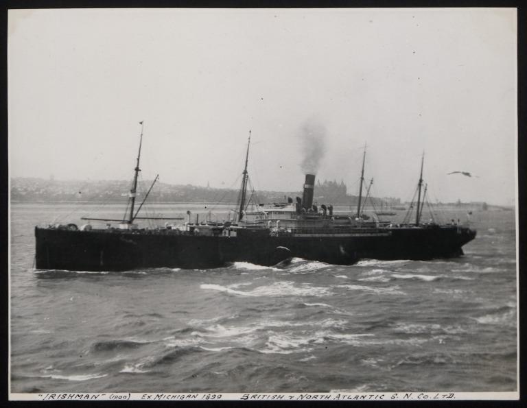 Photograph of Irishman (ex Michigan), Dominion Line card