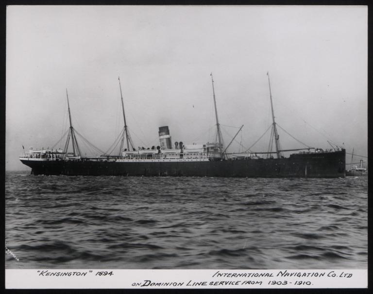 Photograph of Kensington, Dominion Line card