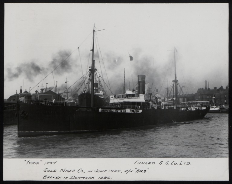Photograph of Tyria, Cunard Line card