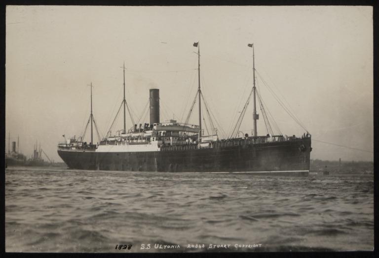 Photograph of Ultonia, Cunard Line card