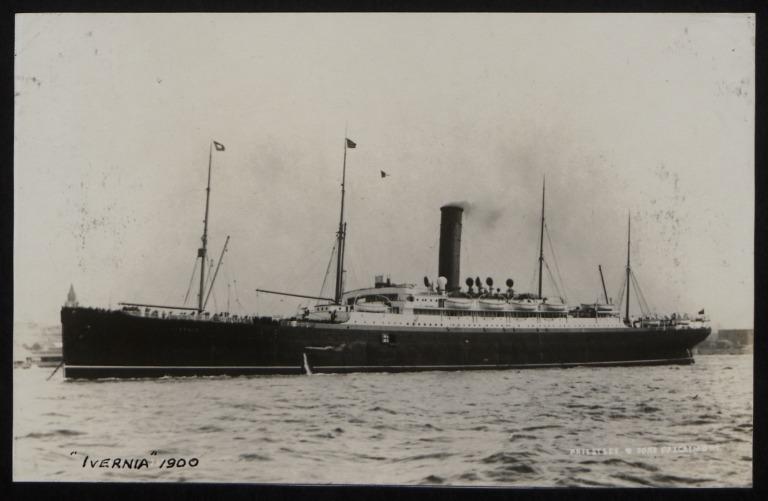 Photograph of Ivernia, Cunard Line card