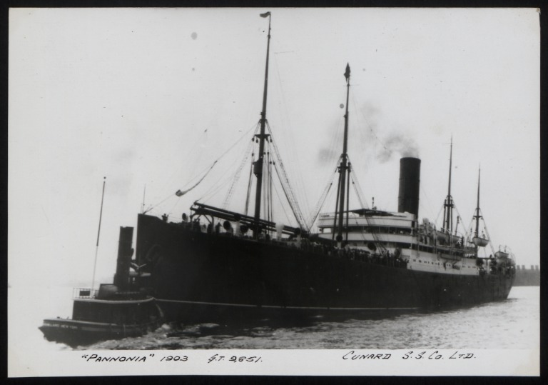 Photograph of Pannonia, Cunard Line card