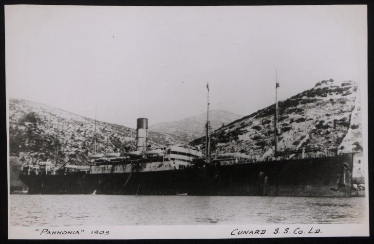 Photograph of Pannonia, Cunard Line card