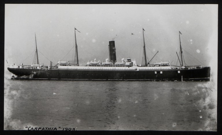 Photograph of Carpathia, Cunard Line card