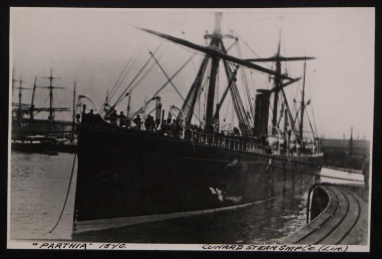 Photograph of Parthia, Cunard Line card