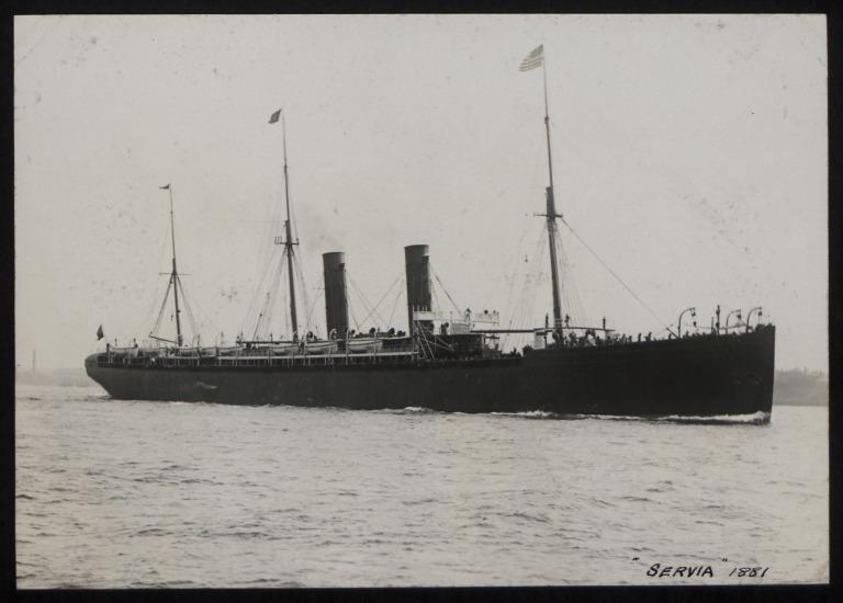 Photograph of Servia, Cunard Line card
