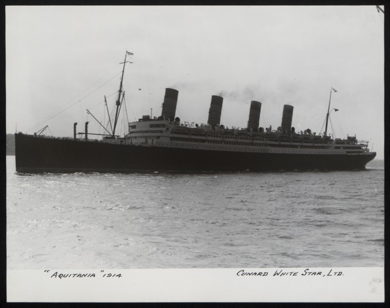 Photograph of Aquitania, Cunard Line card