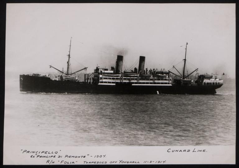 Photograph of Principello, Cunard Line card