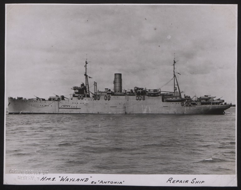 Photograph of Wayland (ex Antonia), Cunard White Star Line card