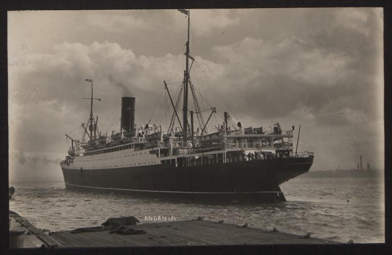 Photograph of Andania II, Cunard White Star Line card