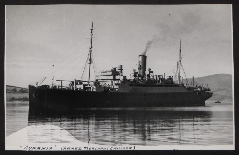 Photograph of Aurania, Cunard White Star Line card