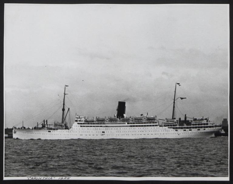 Photograph of Carinthia, Cunard White Star Line card