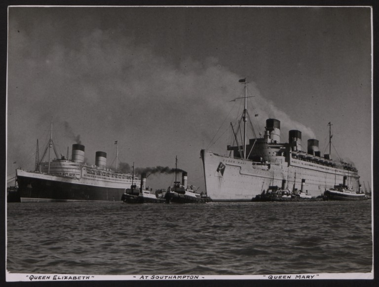 Photograph of Queen Elizabeth and Queen Mary, Cunard White Star Line card