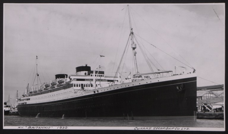 Photograph of Britannic, Cunard White Star Line card