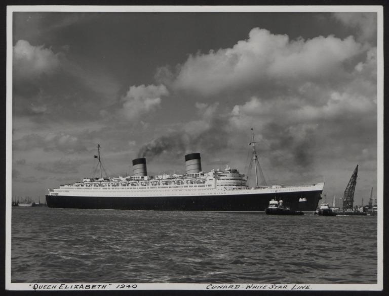 Photograph of Queen Elizabeth, Cunard White Star Line card