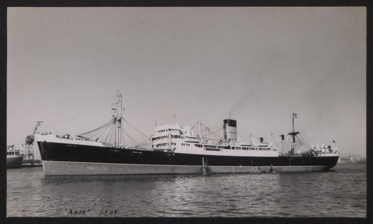 Photograph of Asia, Cunard White Star Line card