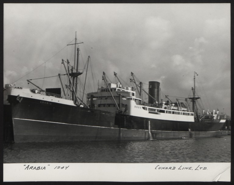 Photograph of Arabia, Cunard White Star Line card