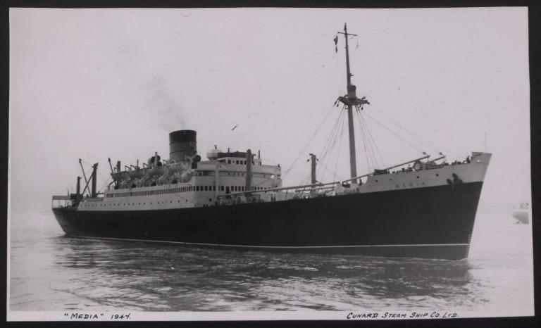 Photograph of Media, Cunard White Star Line card