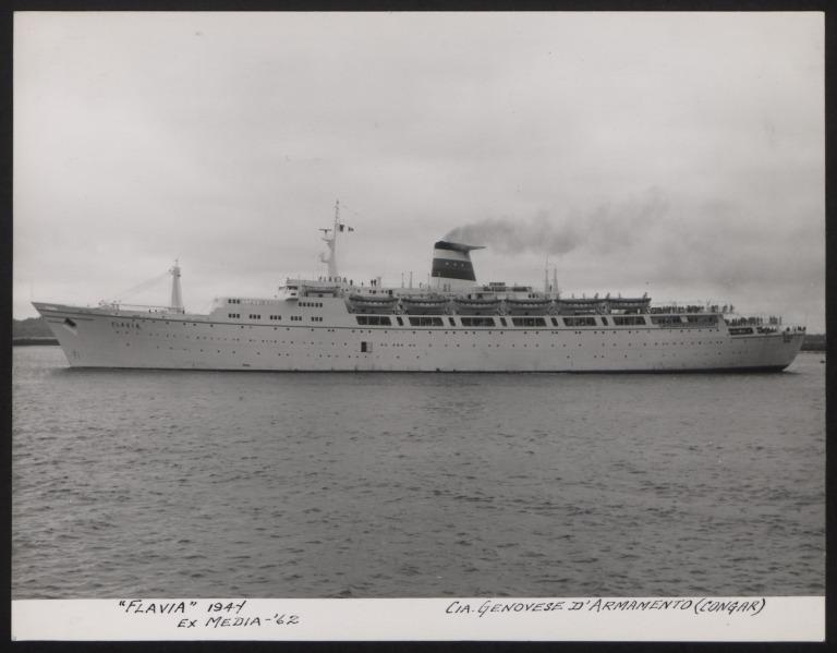 Photograph of Flavia, Cunard White Star Line card
