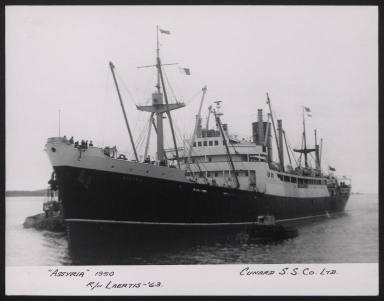 Photograph of Assyria, Cunard White Star Line card