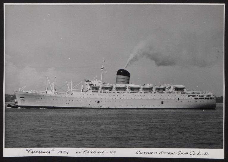Photograph of Carmania (ex Saxonia), Cunard White Star Line card
