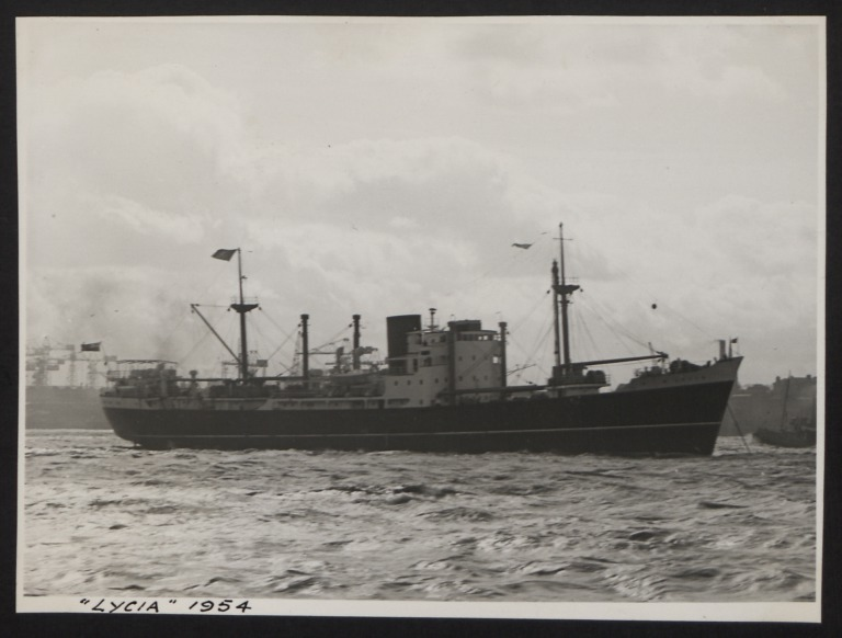 Photograph of Lycia, Cunard White Star Line card