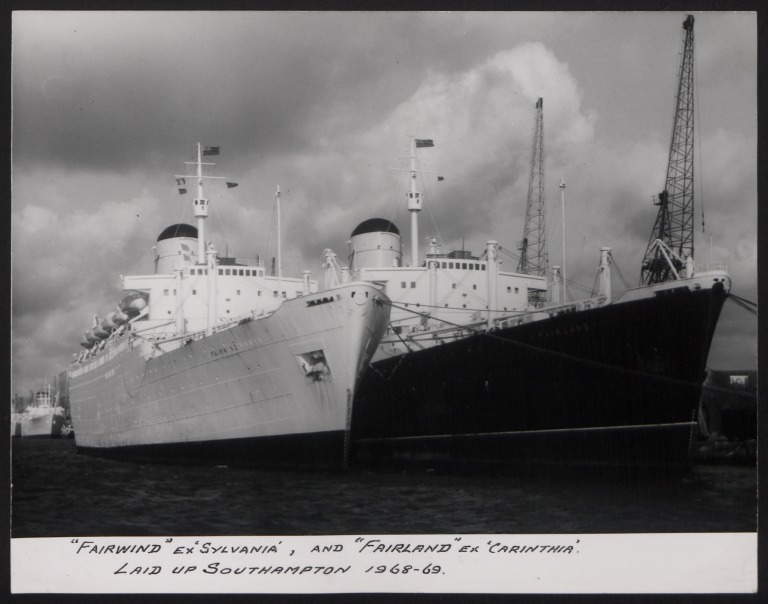 Photograph of Fairwind, Cunard White Star Line card