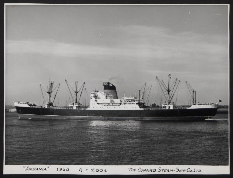 Photograph of Andania III, Cunard White Star Line card