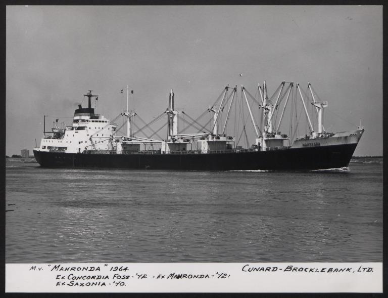 Photograph of Mahronda (ex Concordia, Saxonia), Cunard White Star Line card