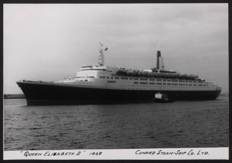 Photograph of Queen Elizabeth II, Cunard White Star Line card