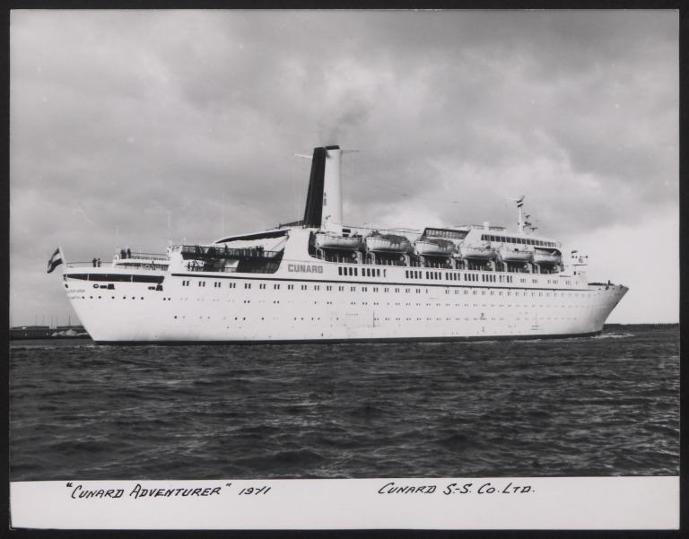 Photograph of Cunard Adventurer, Cunard White Star Line card