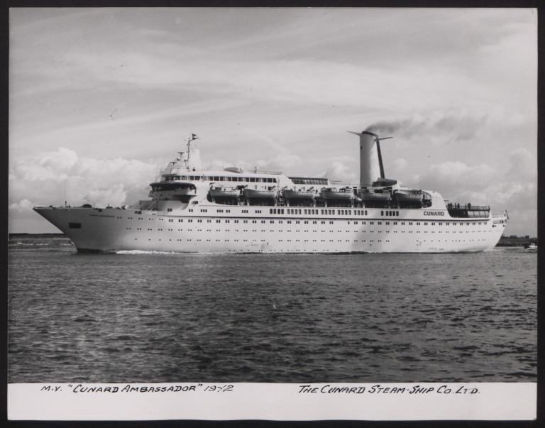Photograph of Cunard Ambassador, Cunard White Star Line card