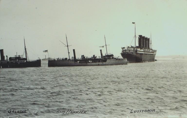 Photograph of Galatea, HMS Harrier, Lusitania card
