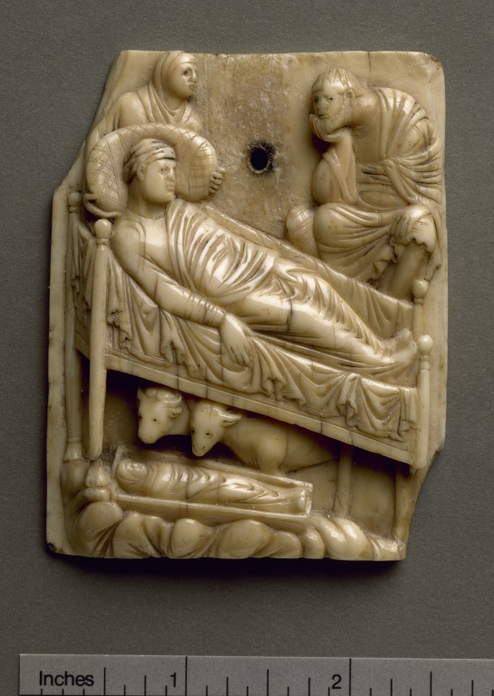 Carved panel showing The Nativity card
