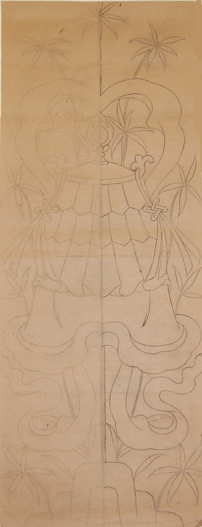 Traced and pricked drawing of the Victory Banner - Eight Auspicious Symbols card