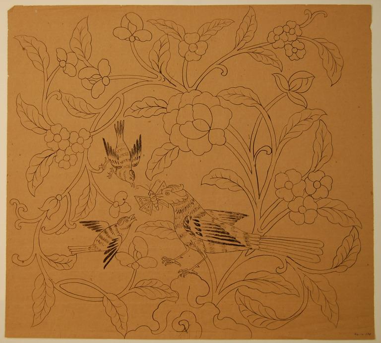 Ink drawing of birds' feeding nestling card