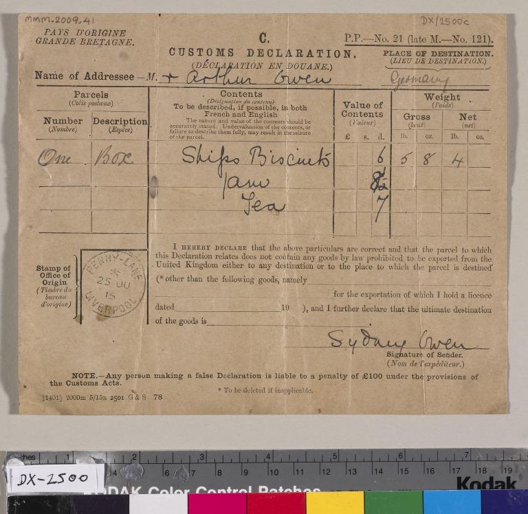 Arthur Owens, merchant seafarer and First World War prisoner of war card