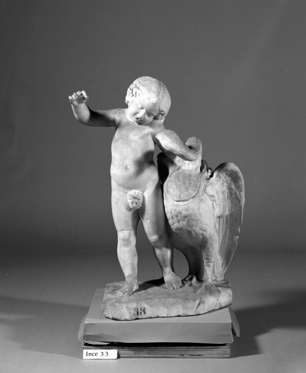 Statuette of Eros and Swan card