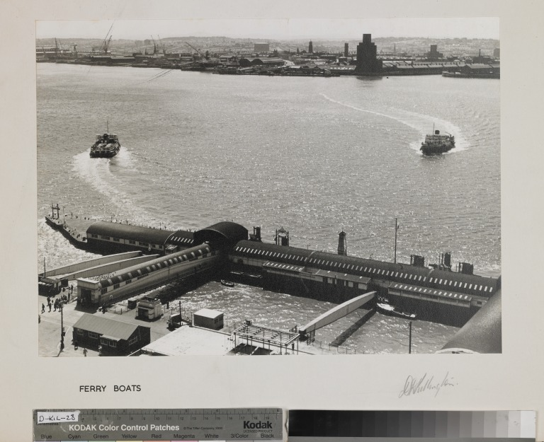 Photograph entitled 'Ferry Boats', showing the Liverpool Landing Stage and two Mersey ferries card