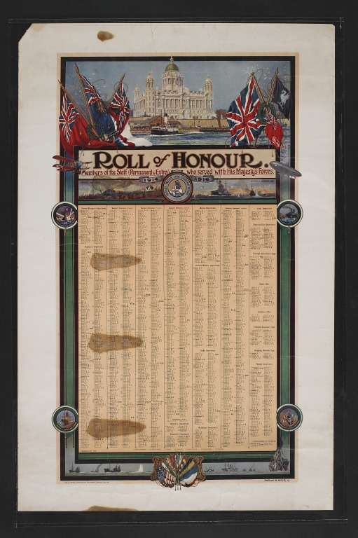 Mersey Docks and Harbour Board Roll of Honour for the First World War card