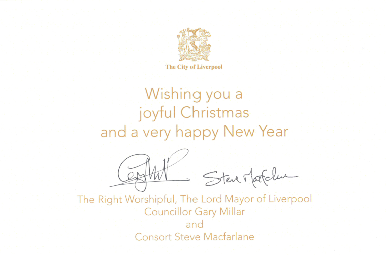Christmas Card, 'The City of Liverpool. Season's Greetings' card