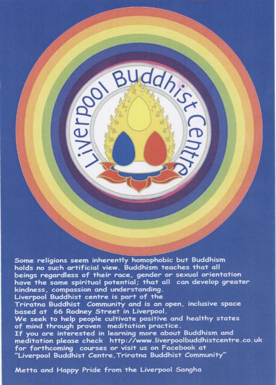 Flyer, 'Liverpool Buddhist Centre' card
