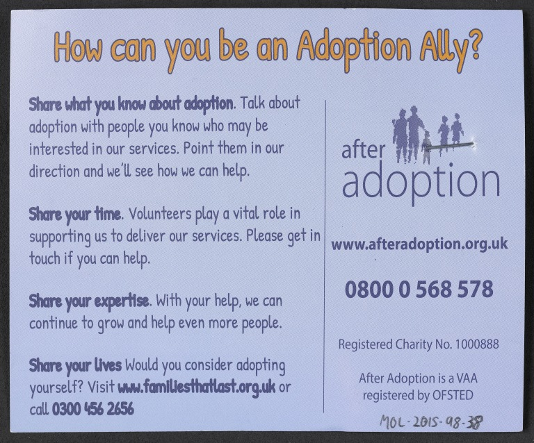 Flyer with badge, 'You can be an Adoption Ally' card