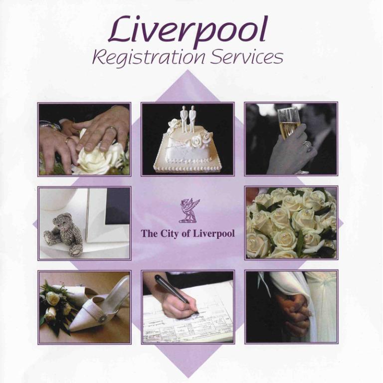 Booklet, 'Liverpool Registration Services' card