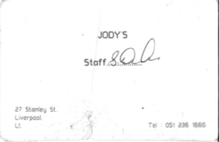 Staff Card, Jody's card